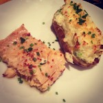 olive oil poached trout and irish cheddar twice-baked potatoes