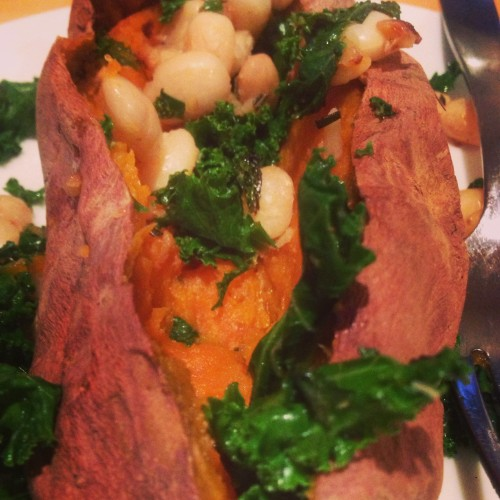 sweet potatoes stuffed with kale and beans | things i made today