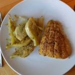 cornmeal crusted catfish and braised fennel