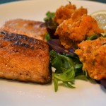 ruby red trout with rosemary sweet potato mash