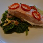 coconut-lime salmon fillet with mustard spinach