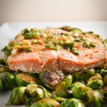 ginger scallion salmon with brussels sprouts