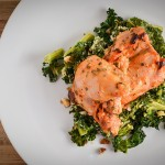 yogurt and sriracha marinated chicken & ginger kale gratin