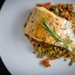 Roasted Trout Beurre Blanc with Lentils