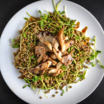 lentils with fried mushrooms and pea shoots