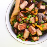 soy-glazed tofu, carrots, and mushrooms