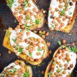 Roasted Eggplant and Chickpeas with Yogurt Tahini Sauce