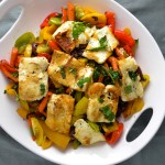 Fried Halloumi with Bell Peppers, Carrots, Capers and So Much Other Good Stuff