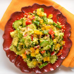 quinoa, bell pepper, avocado, and cucumber salad