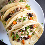 Roasted Root Vegetable and Chicken Tacos with Chili Mayo