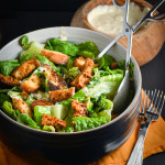 Brussels Sprout Salad with Creamy Garlic Dressing