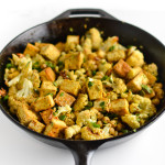warm cauliflower, chickpea, and tofu salad