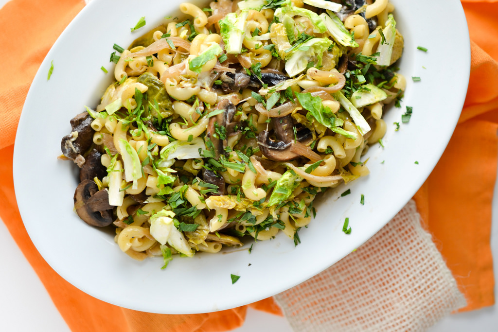 Creamy Mushroom Brussels Sprout And Goat Cheese Pasta