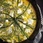 Asparagus and Goat Cheese Frittata over Salad with Chive Flower Vinaigrette