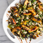 Grilled Summer Squash and Peaches with Blue Cheese and Herbs