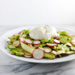 Shaved Asparagus, Radish, Snap Pea, and Cucumber Salad with Burrata