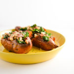 sweet potatoes stuffed with kale and beans