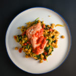 Spicy Salmon with Israeli Couscous and Chickpeas