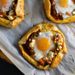 Spicy Tomato and Spinach Galettes with Runny Eggs