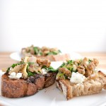 Morel, Spinach, and Goat Cheese Toasts