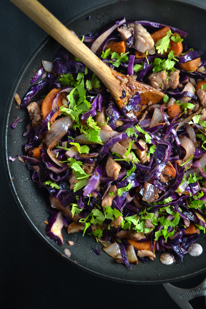 Red Cabbage Sweet Potato And Chicken Stir Fry Things I